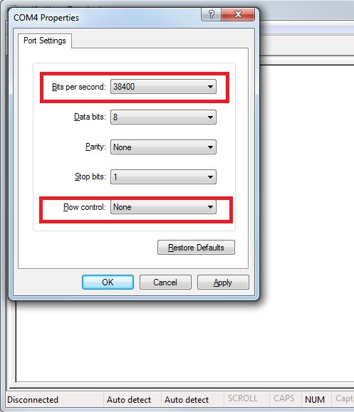 hyper terminal settings